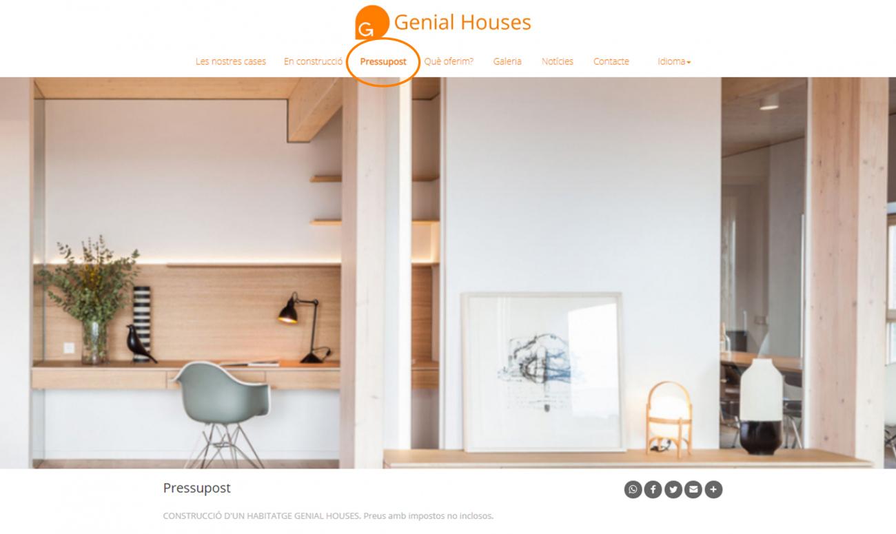 Vols saber què val la teva casa Genial Houses? Ja ho pots consultar a la nova pestanya de PRESSUPOST