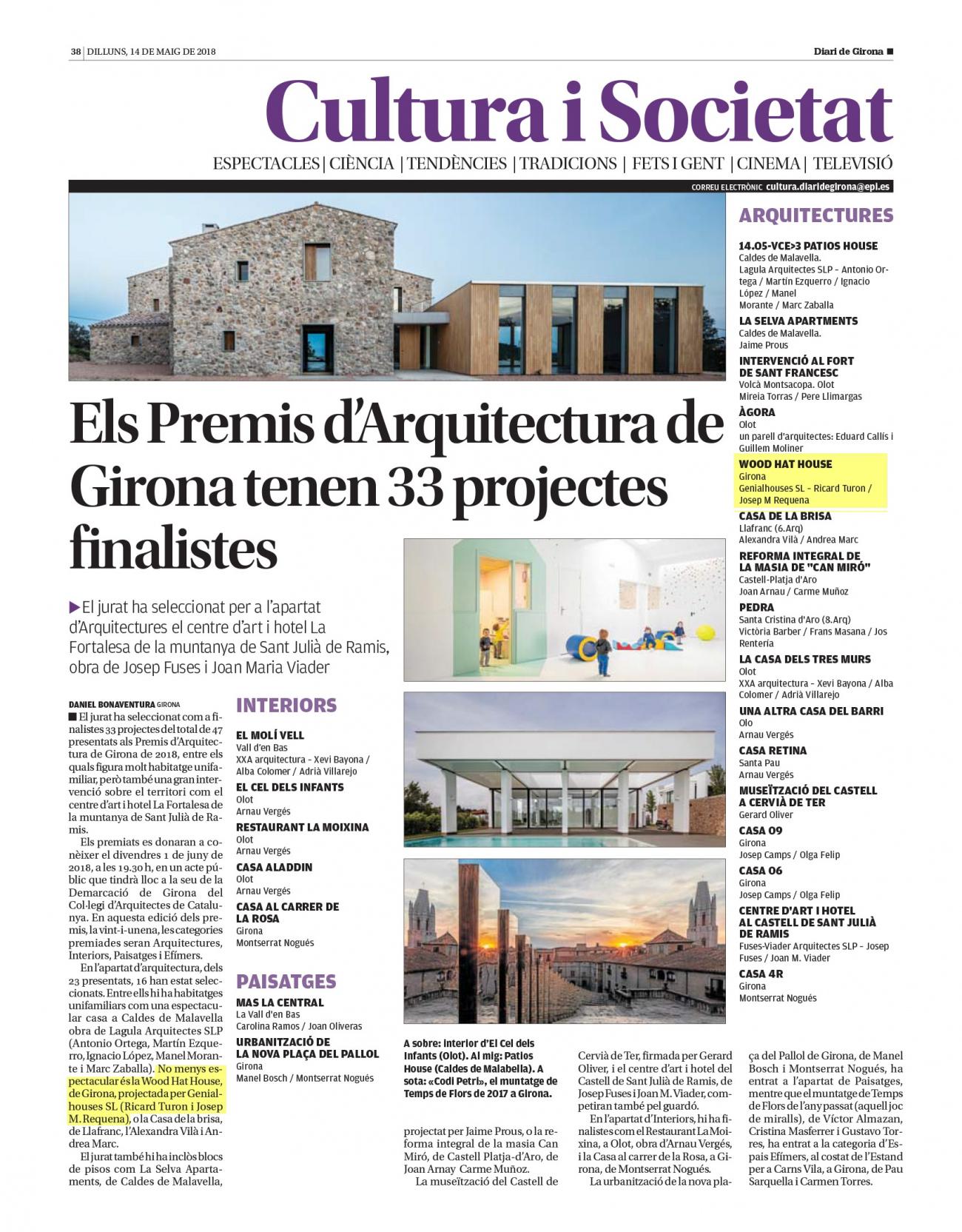 Altre cop Genial Houses finalista als premis d'Arquitectura / De nuevo Genial Houses finalista en los premios de Arquitectura