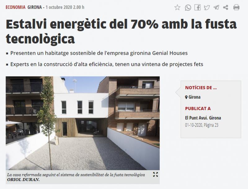 """Notícia al diari El Punt Avui """"Estalvi energètic del 70% amb la fusta tecnològica"""" @elpunt @COACgirona @COACatalunya"""