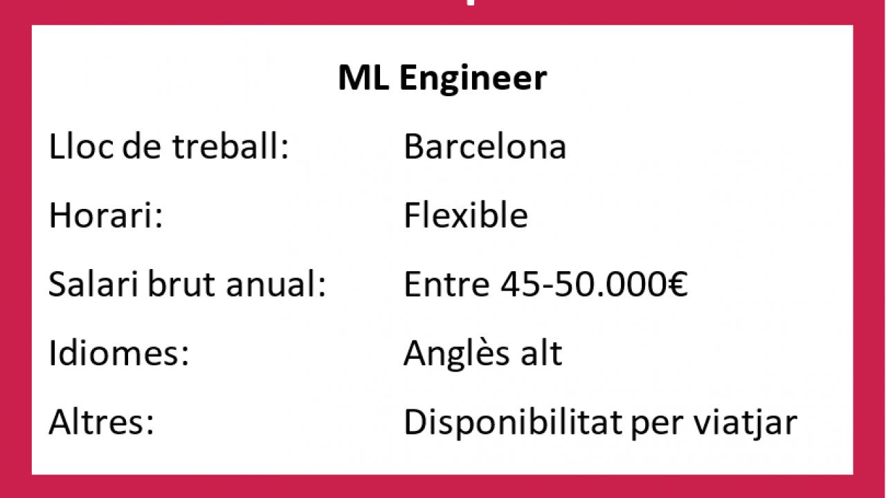 OFERTA VIGENT: ML Engineer